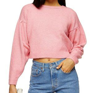✨ BNWT Pleated Shoulder Cropped Sweater | Pink